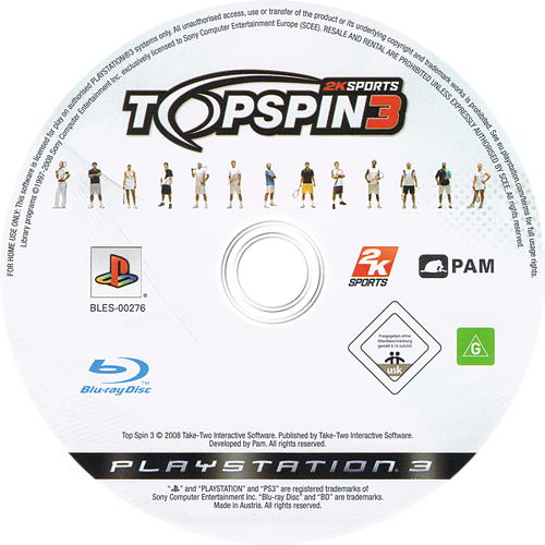 Top Spin 3 PS3 discM (BLES00276)