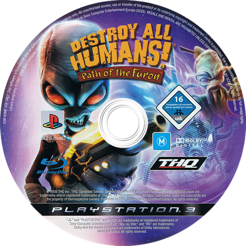 Destroy All Humans! Path of the Furon PS3 discM (BLES00467)