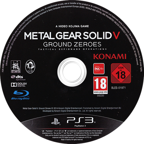 Metal Gear Solid V: Ground Zeroes PS3 discM (BLES01971)