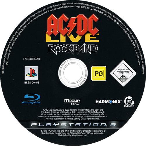 AC/DC Live: Rock Band PS3 discM (BLES00453)
