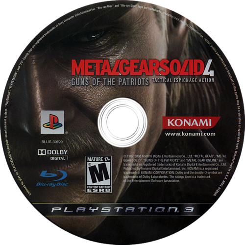 Metal Gear Solid 4: Guns of the Patriots PS3 discM (BLUS30109)