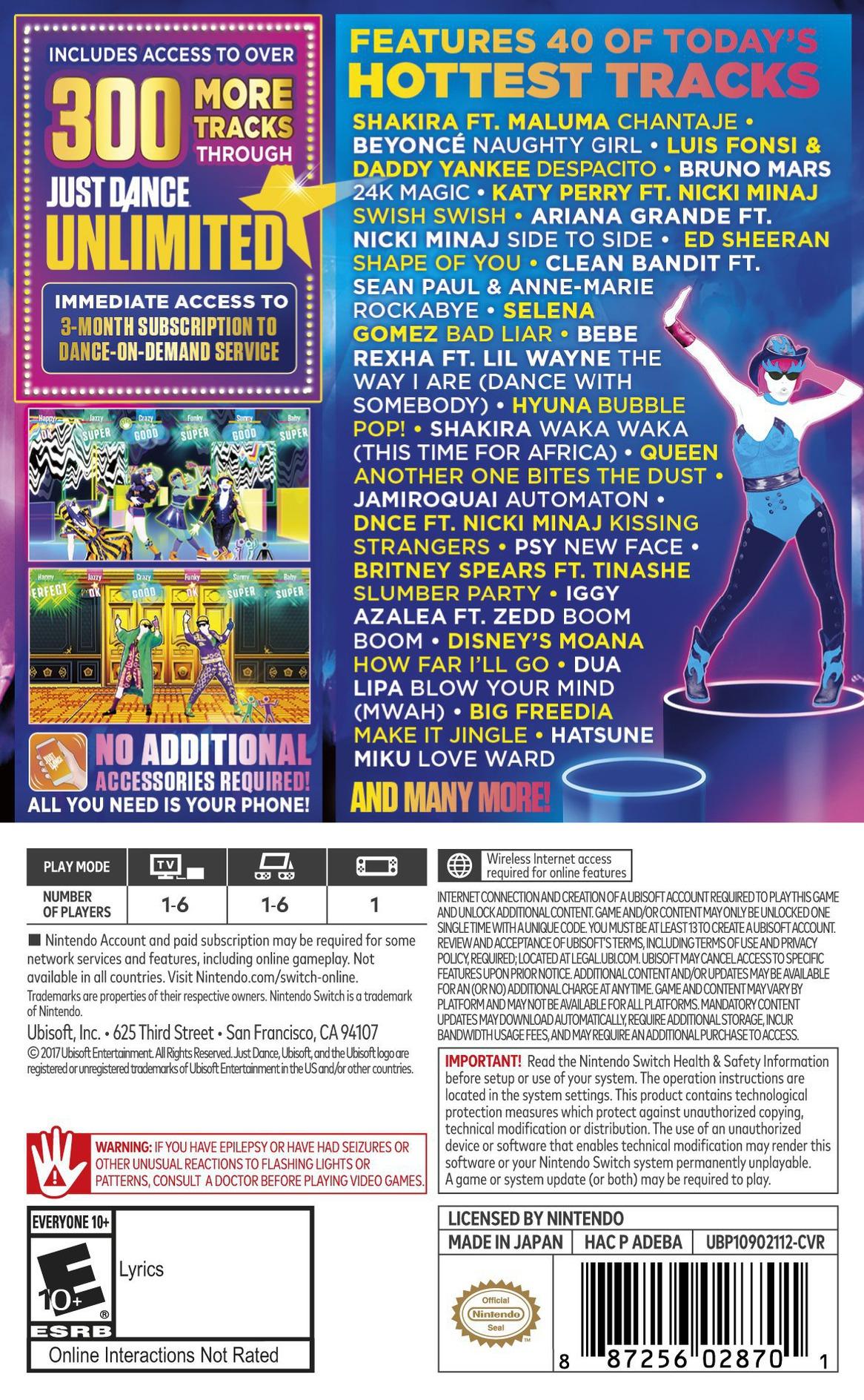 Just Dance 2018 Switch backHQ (ADEBA)