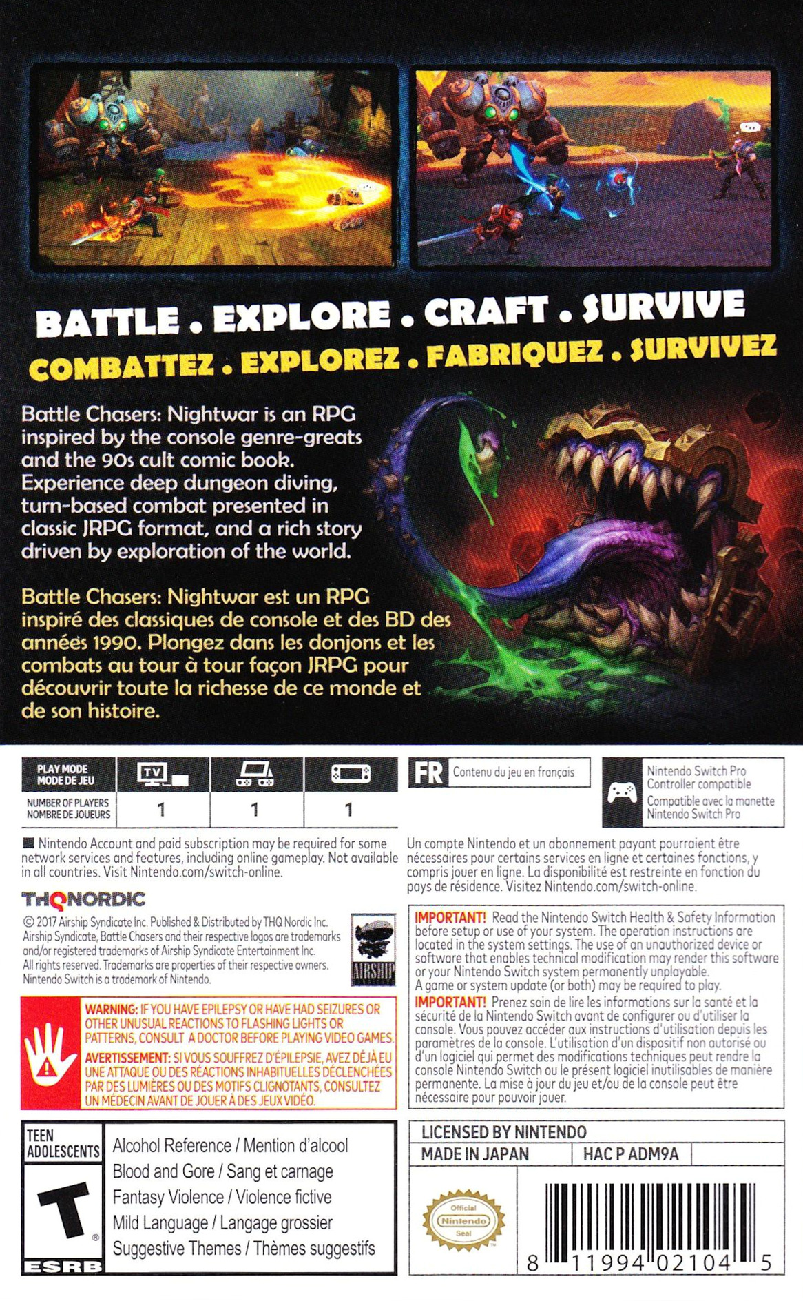 Battle Chasers: Nightwar Switch backHQ (ADM9A)
