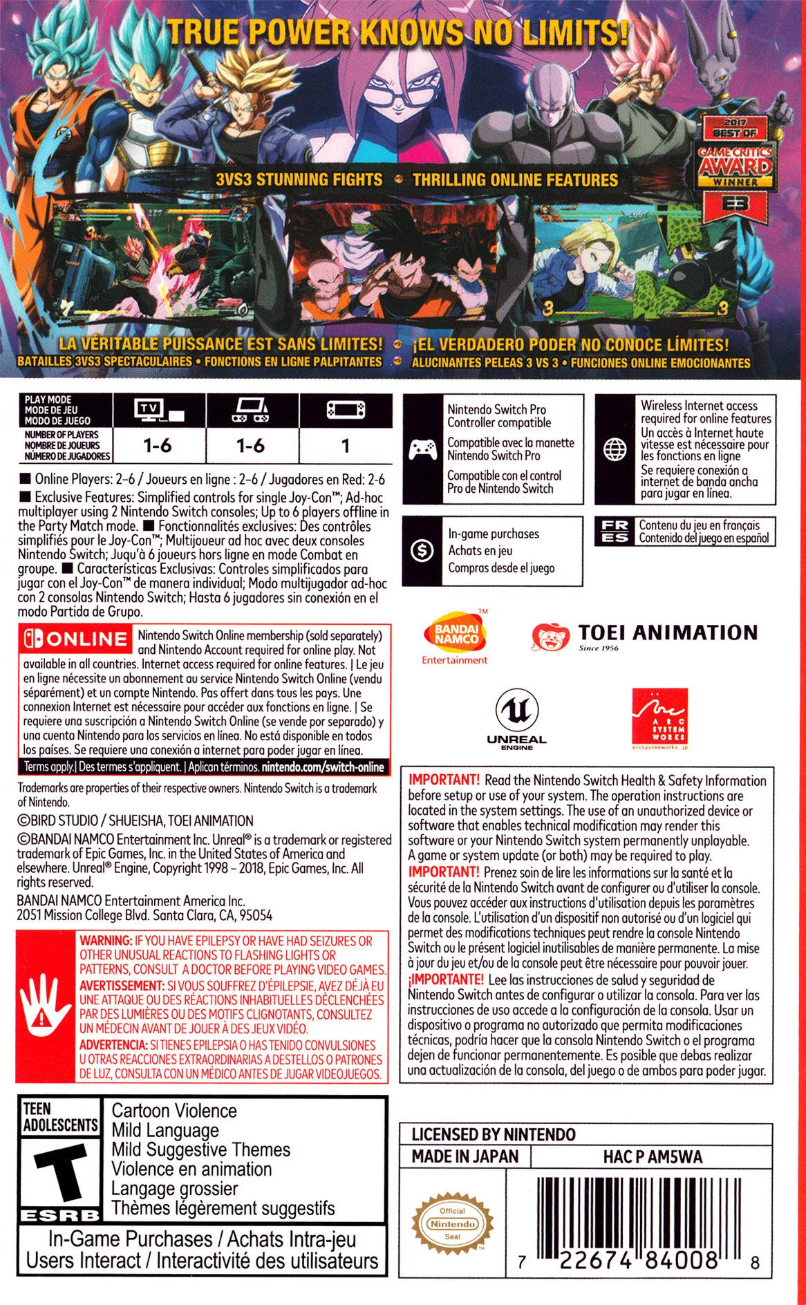Dragon Ball FighterZ Switch backHQ (AM5WA)