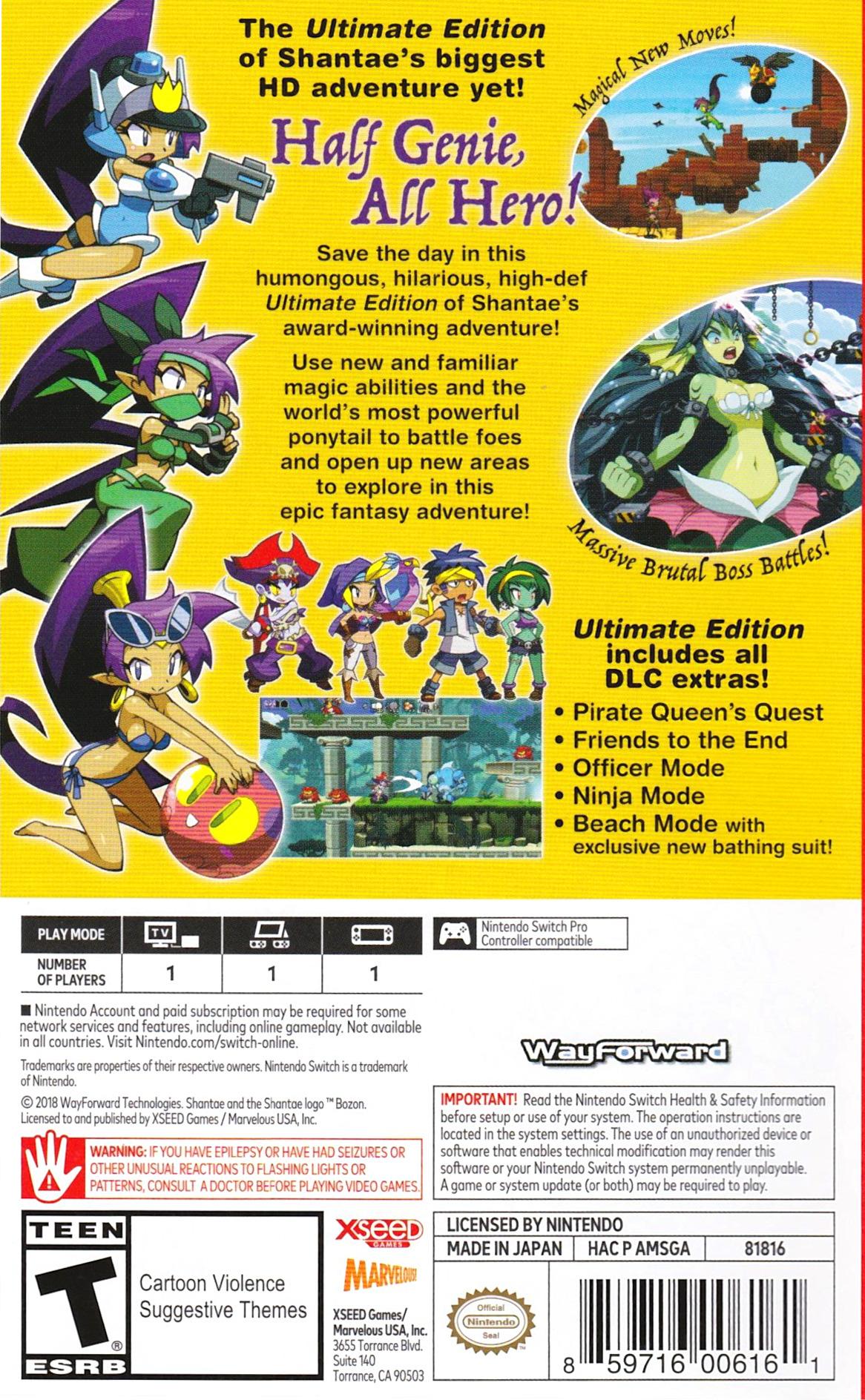 Shantae: Half-Genie Hero Ultimate Edition Switch backHQ (AMSGA)