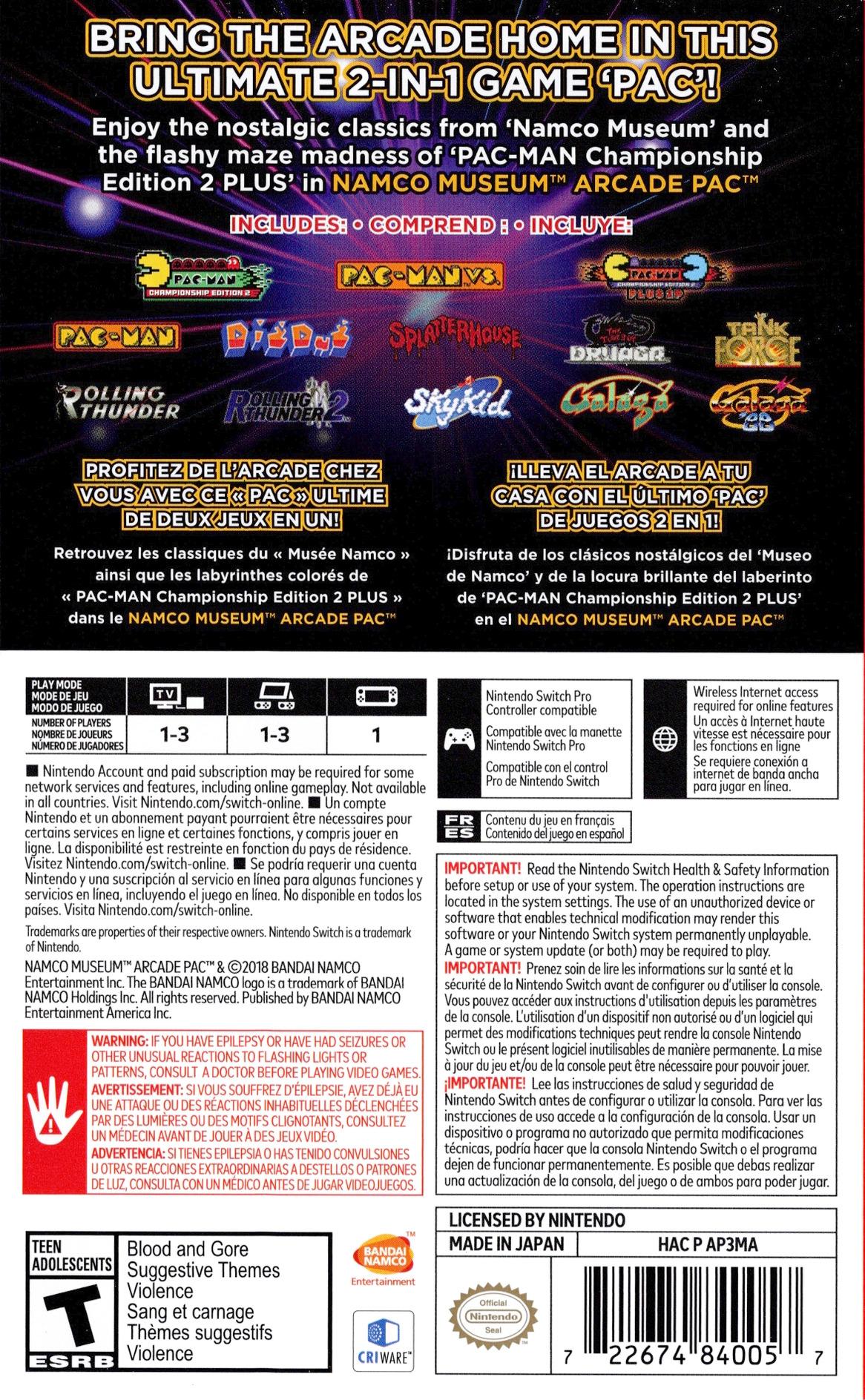 Namco Museum Arcade Pac Switch backHQ (AP3MA)