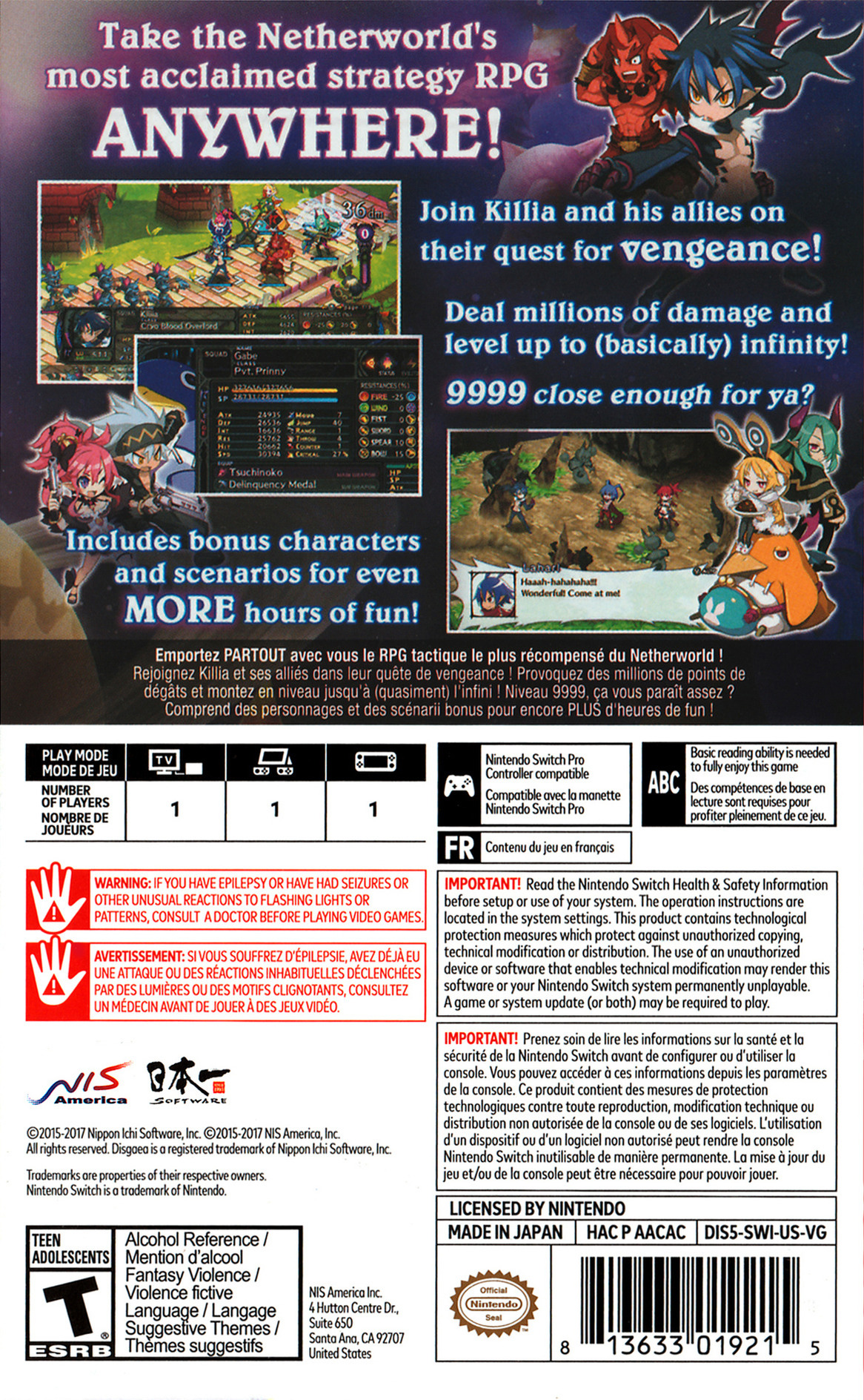 Disgaea 5 Complete Switch backHQB (AACAC)