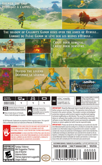 The Legend of Zelda: Breath of the Wild Switch backM (AAAAA)