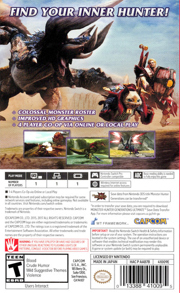 Monster Hunter - Generations - Ultimate Switch backM (AAB7B)
