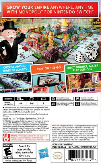 Monopoly for Nintendo Switch Switch backM (ADQPA)