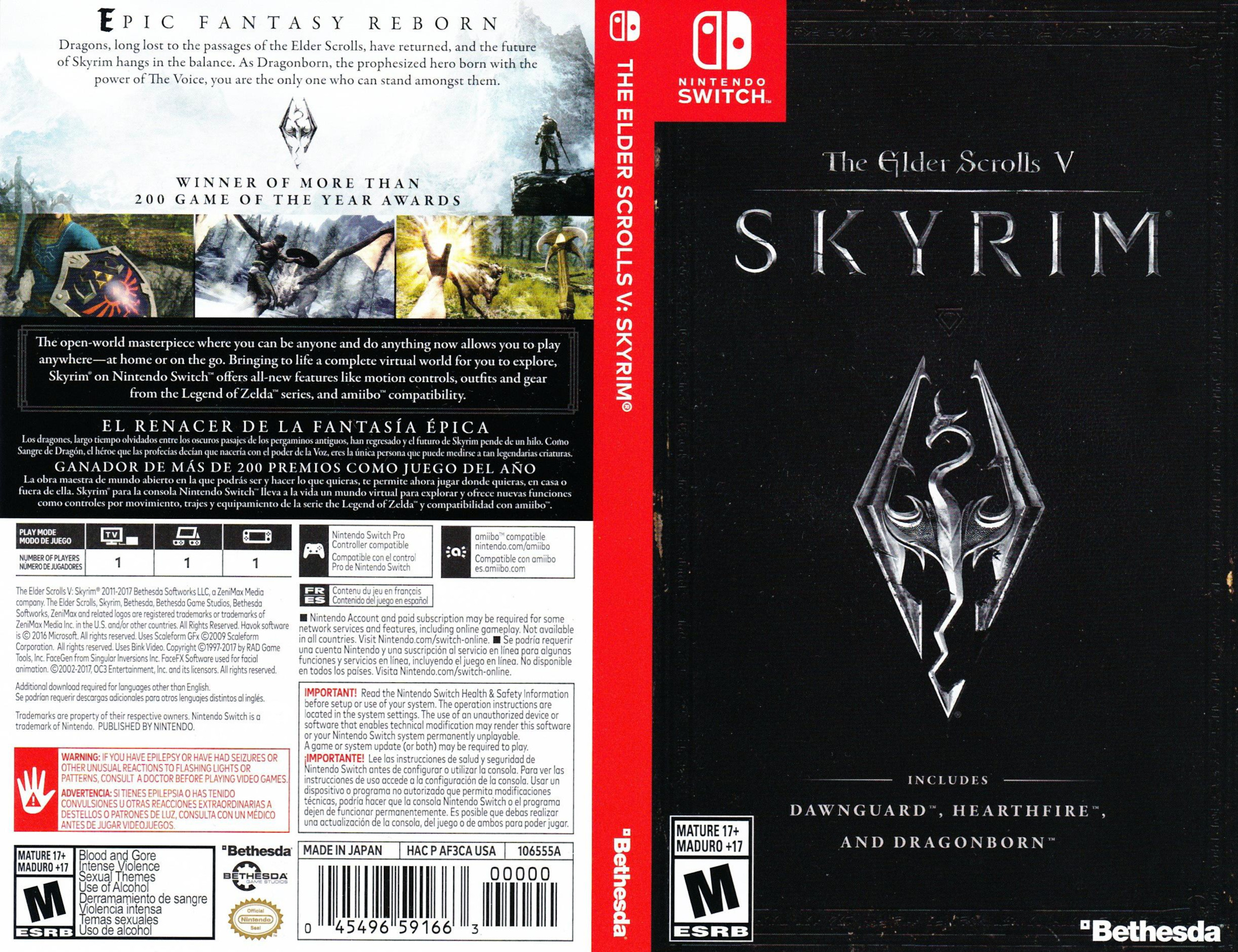 The Elder Scrolls V: Skyrim Switch coverfullHQ (AF3CA)