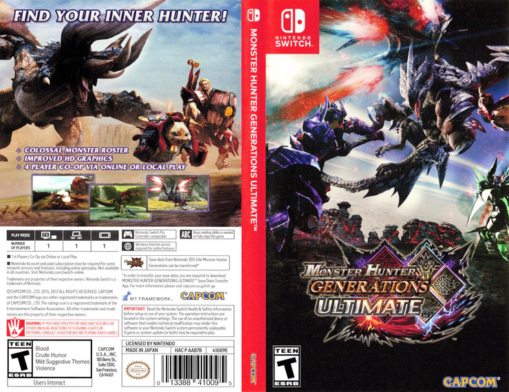 Monster Hunter - Generations - Ultimate Switch coverfullM (AAB7B)