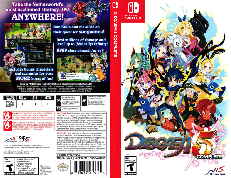 Disgaea 5 Complete Switch coverfullM (AACAC)