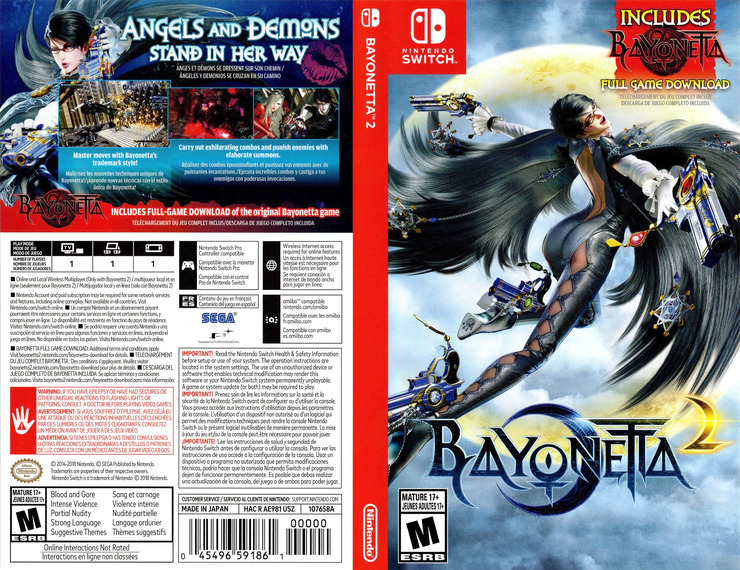 Bayonetta 2 Switch coverfullM (AE98A)