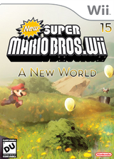 New Super Mario Bros Wii 15 A New World CUSTOM cover (NEWE01)