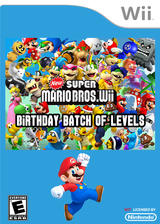 New Super Mario Bros. Wii - Birthday Batch of Levels CUSTOM cover (SMNE46)