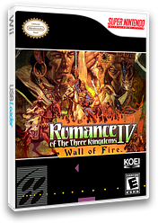 Romance of the Three Kingdoms IV: Wall of Fire VC-SNES cover (JAWE)