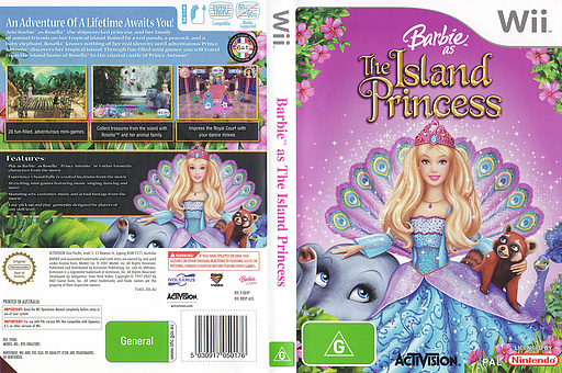 Barbie as The Island Princess Wii cover (RBVP52)