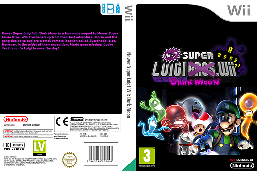 Newer Super Luigi Wii: Dark Moon CUSTOM cover (SMNPLM)