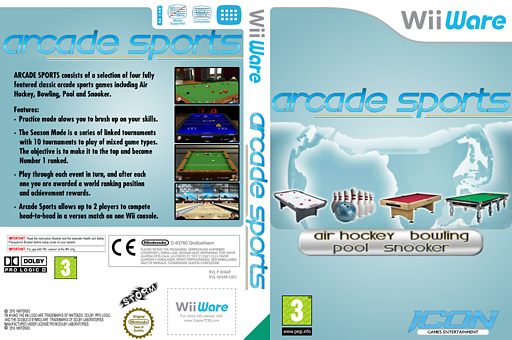 Arcade Sports: Air Hockey, Bowling, Pool, Snooker WiiWare cover (W4AP)