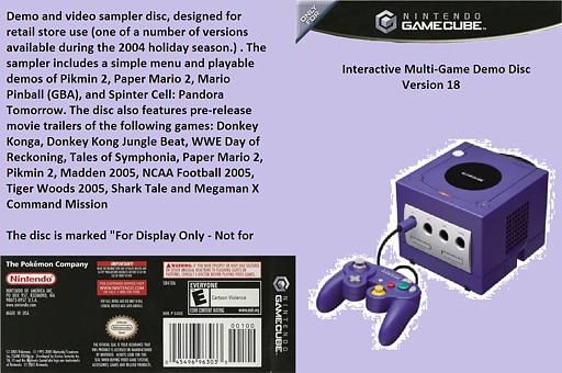 Interactive Multi-Game Demo Disc - Version 18 GameCube cover (D77E01)