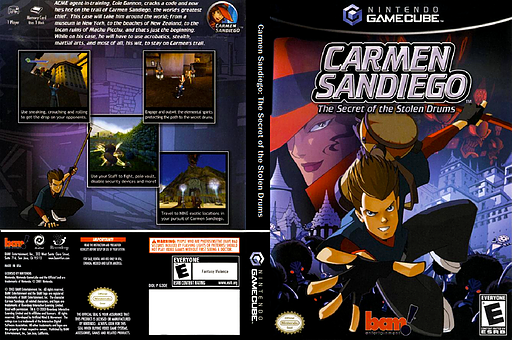 Carmen Sandiego: The Secret of the Stolen Drums GameCube cover (G3DE6L)