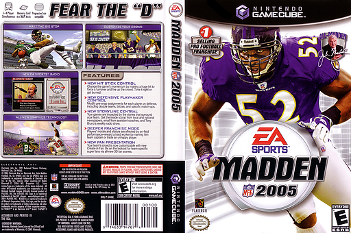 Madden NFL 2005 GameCube cover (GNQE69)