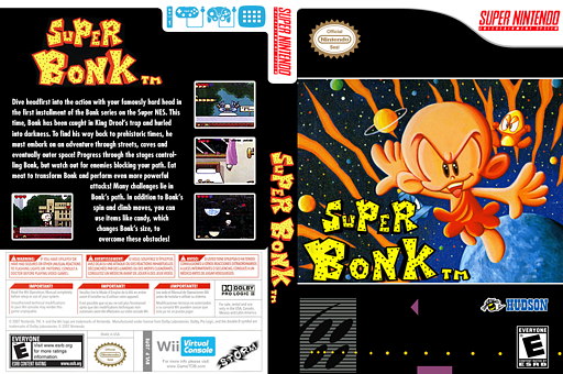 Super Bonk VC-SNES cover (JD9E)