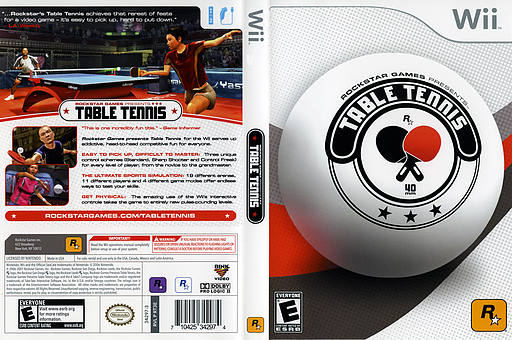 Rockstar Games Presents: Table Tennis Wii cover (RT3E54)