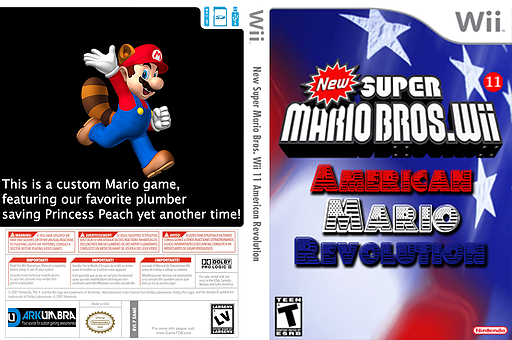 New Super Mario Bros. Wii 11 American Revolution CUSTOM cover (SAME01)