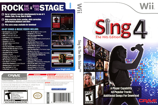 Sing 4: The Hits Edition Wii cover (SIHE4Z)