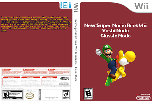 New Super Mario Bros. Wii: Yoshi Mode - Classic Mode CUSTOM cover (SMNE35)