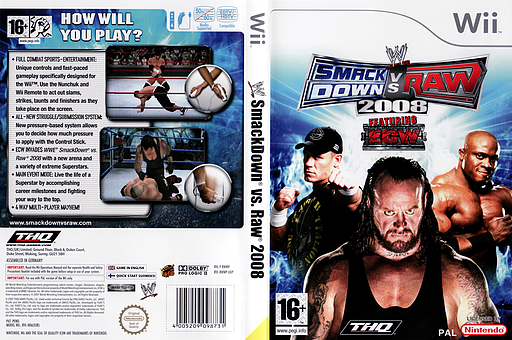WWE SmackDown vs. Raw 2008 Wii cover (RWWP78)