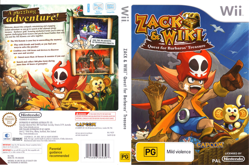 Zack & Wiki: Quest For Barbaros' Treasure Wii coverfullHQ (RTZP08)