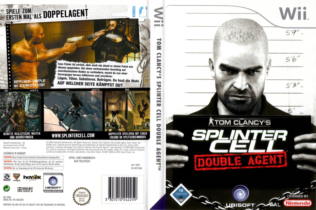 Tom Clancy's Splinter Cell: Double Agent Wii coverfullHQ (RTCP41)