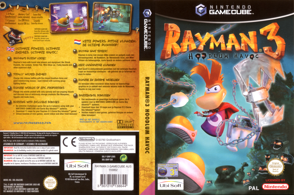 Rayman 3: Hoodlum Havoc Wii coverfullHQ (GRHP41)