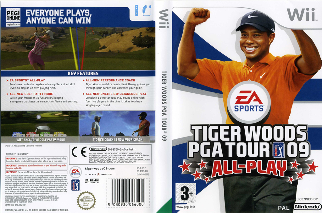Tiger Woods PGA Tour 09 All-Play Wii coverfullHQ (R9TP69)