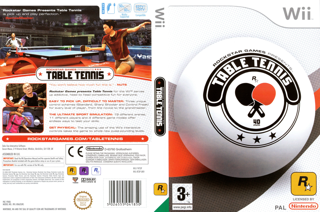 Rockstar Games Presents: Table Tennis Wii coverfullHQ (RT3P54)