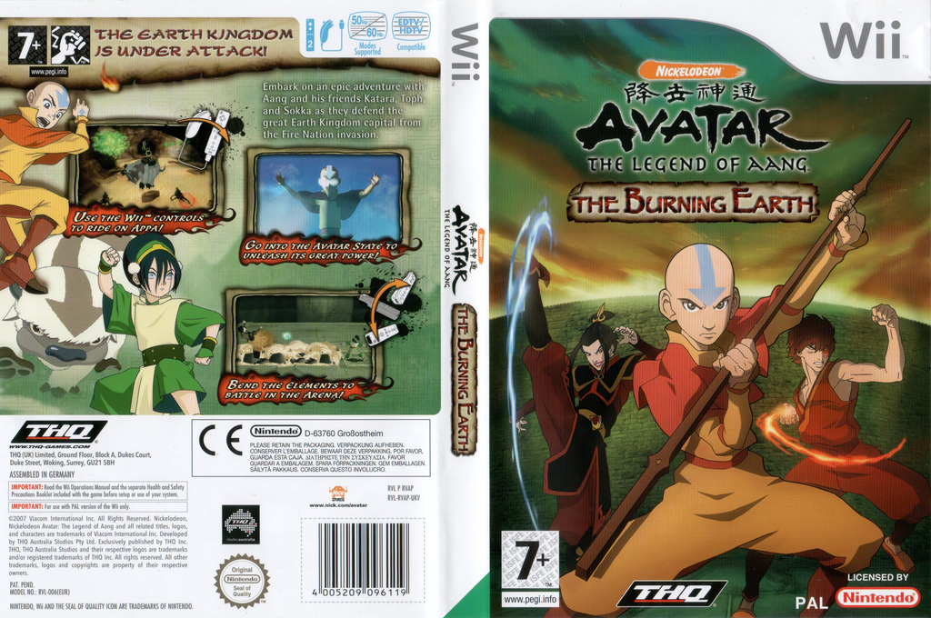 Avatar: The Legend of Aang - The Burning Earth Wii coverfullHQ (RVAP78)