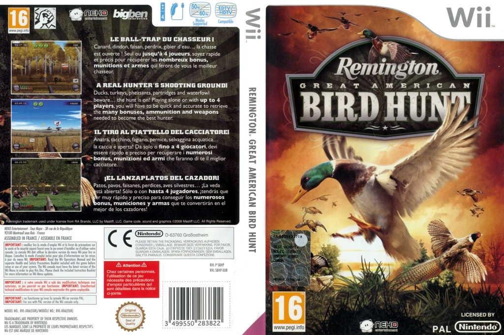 Remington Great American Bird Hunt Wii coverfullHQ (SBHPNK)