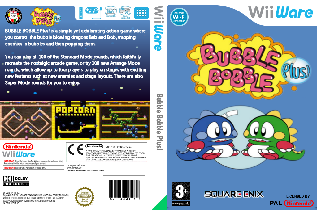 Bubble Bobble Plus! Wii coverfullHQ (WBLP)