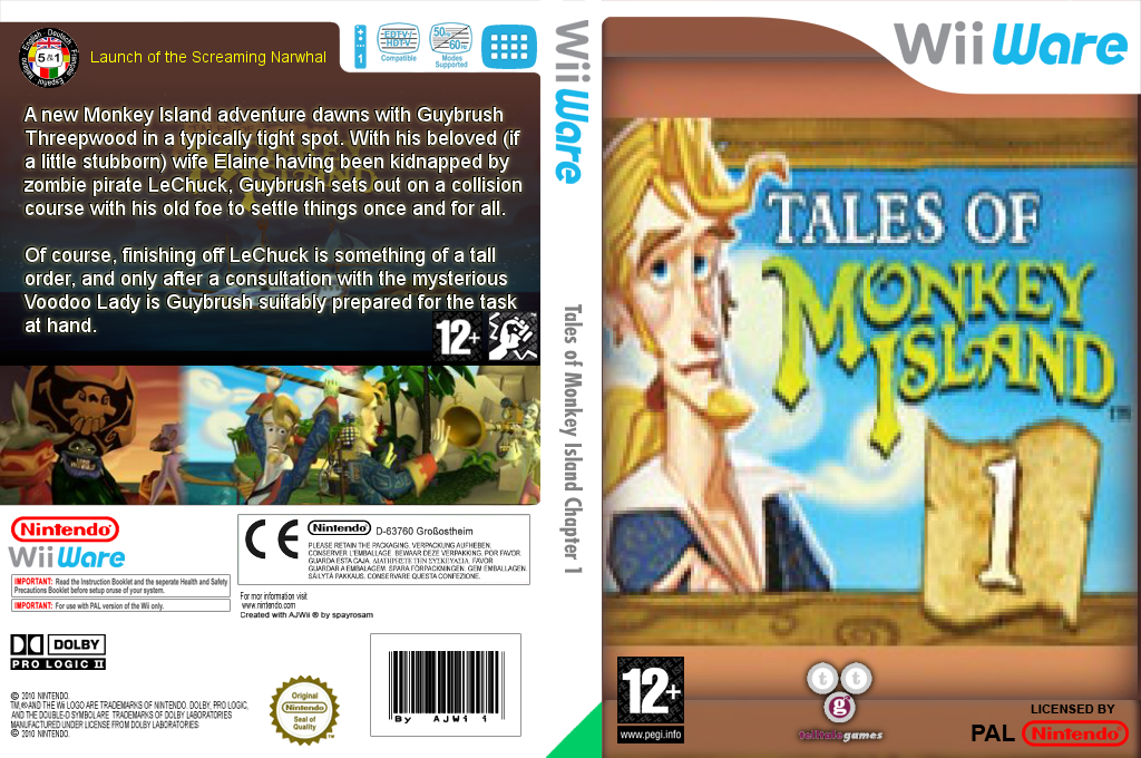 Tales of Monkey Island Chapter 1: Launch of the Screaming Narwhal Wii coverfullHQ (WILP)