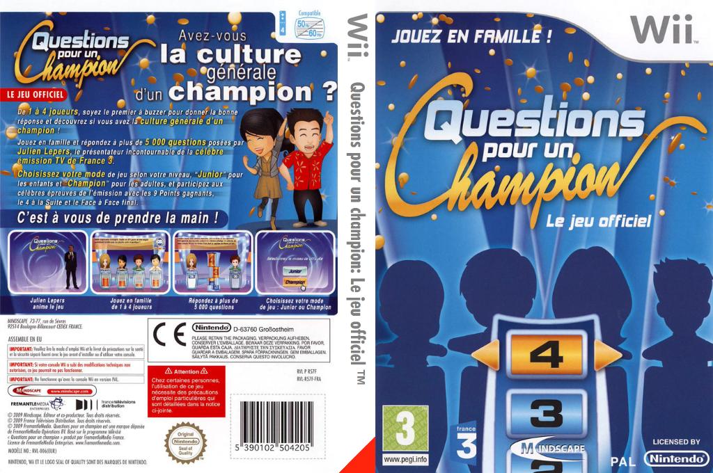 Questions pour un champion:Le jeu officiel Wii coverfullHQ (R57FMR)