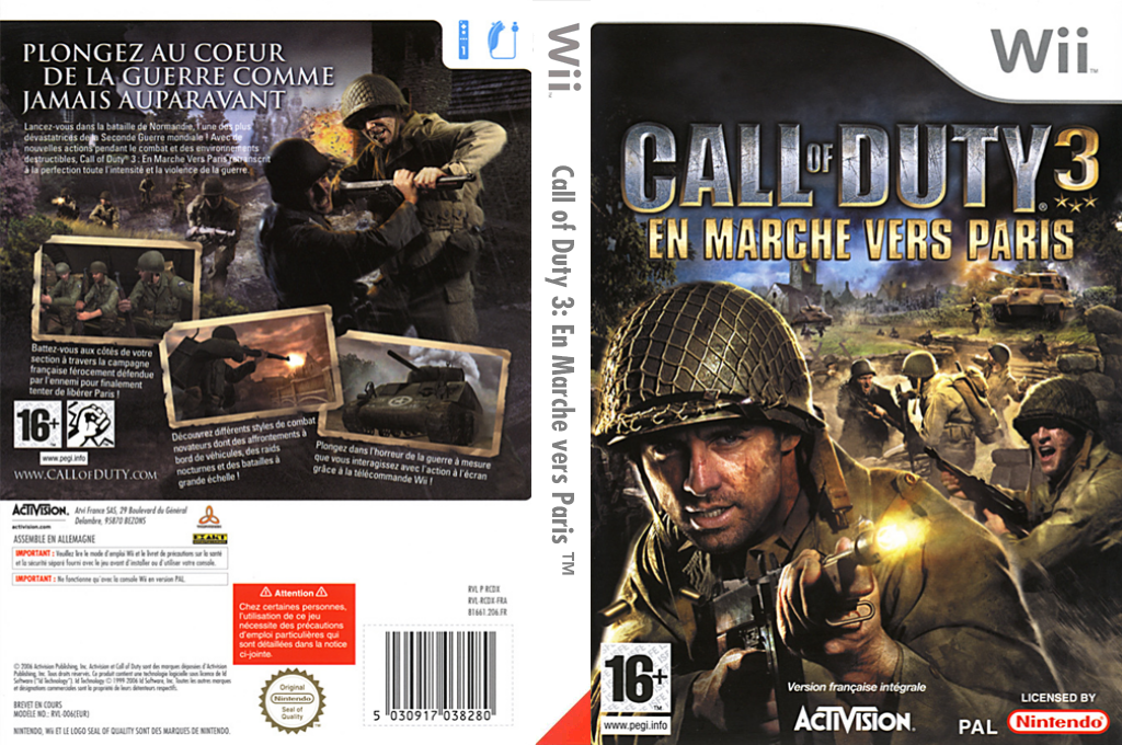 Call of Duty 3 : En Marche vers Paris Wii coverfullHQ (RCDD52)