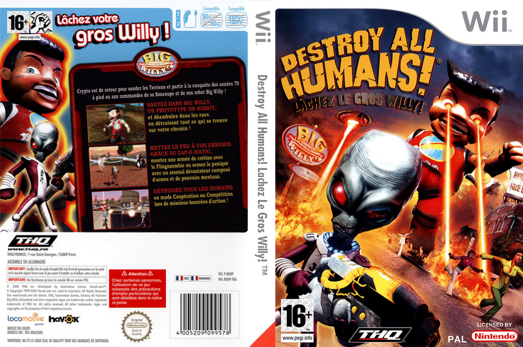Destroy All Humans! Lachez Le Gros Willy! Wii coverfullHQ (RDHP78)