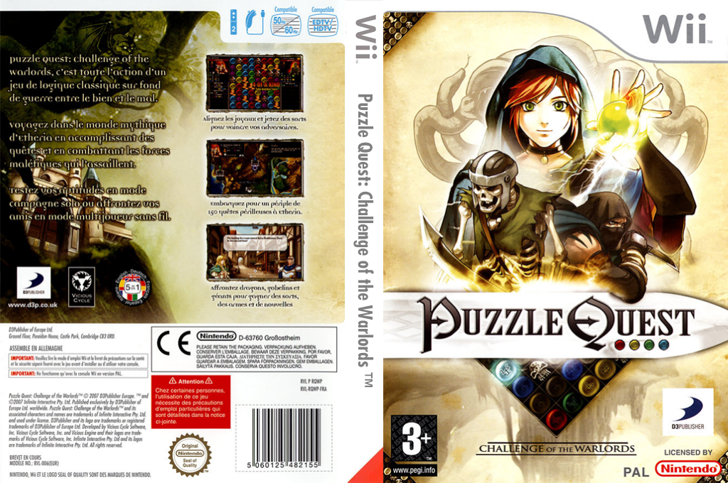 Puzzle Quest:Challenge of the Warlords Wii coverfullHQ (RQWPG9)