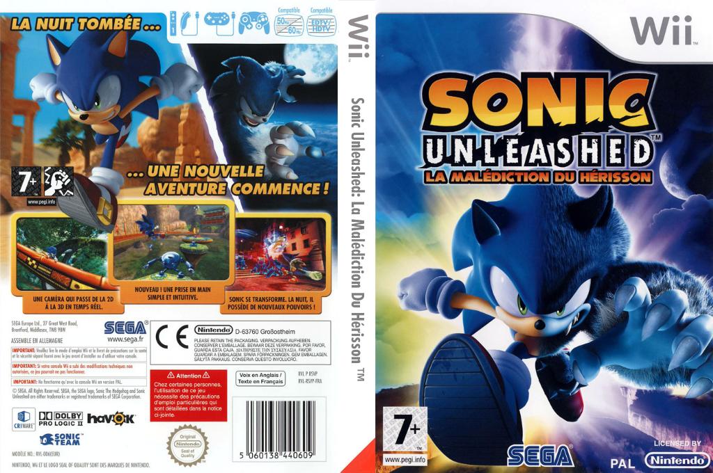 Sonic Unleashed:La Malédiction du Hérisson Wii coverfullHQ (RSVP8P)