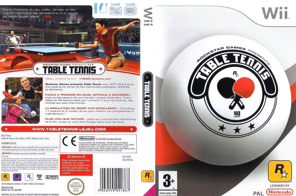 Rockstar Games Presents : Table Tennis Wii coverfullHQ (RT3P54)