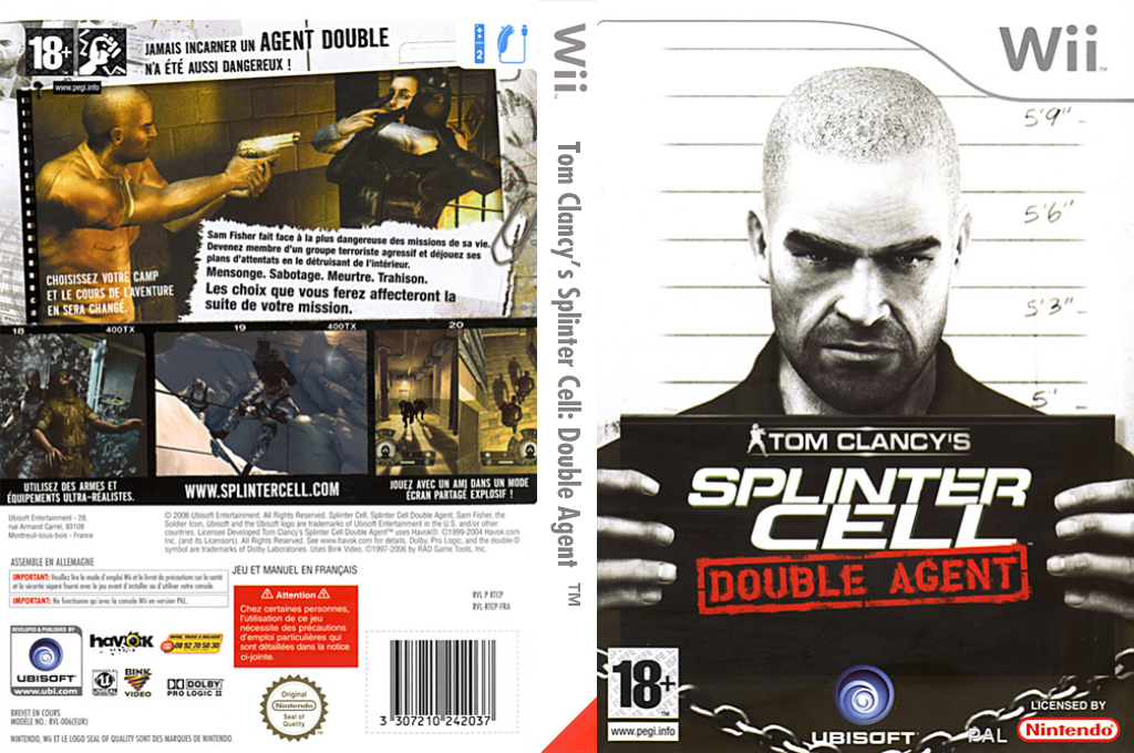 Tom Clancy's Splinter Cell:Double Agent Wii coverfullHQ (RTCP41)