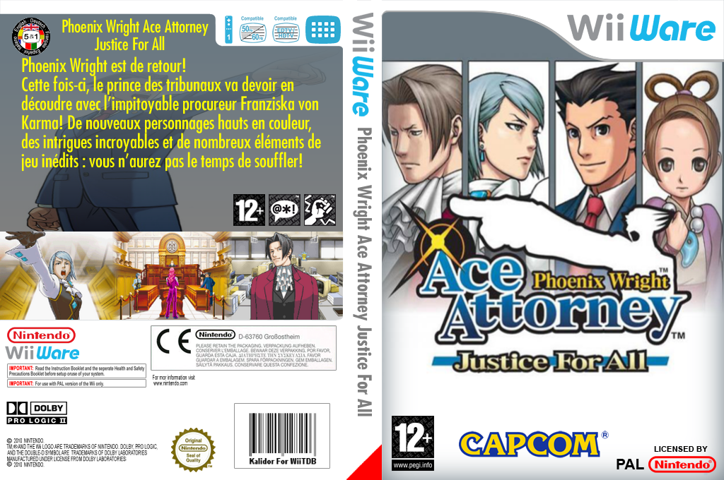 Phoenix Wright Ace Attorney:Justice for All Wii coverfullHQ (W2GP)